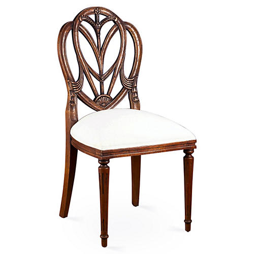 Celia Walnut Side Chair, White Linen