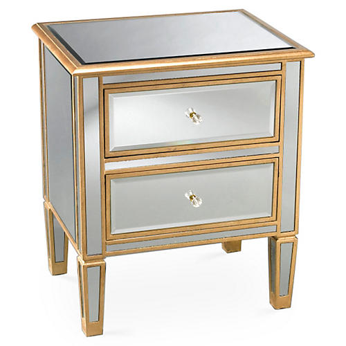 Kate Gold-Trim Nightstand, Mirrored