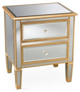 Kate Gold Trim Nightstand, Mirrored   Nightstands   Bedroom   Furniture |  One Kings Lane