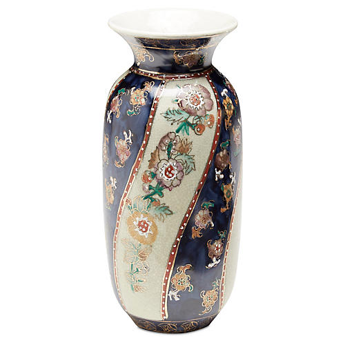 "6"" Chinoiserie Vase, Blue/Cream"