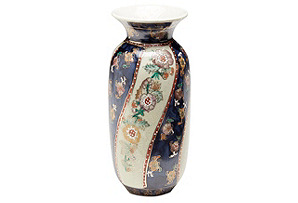 "6"" Chinoiserie Vase, Blue/Cream*"