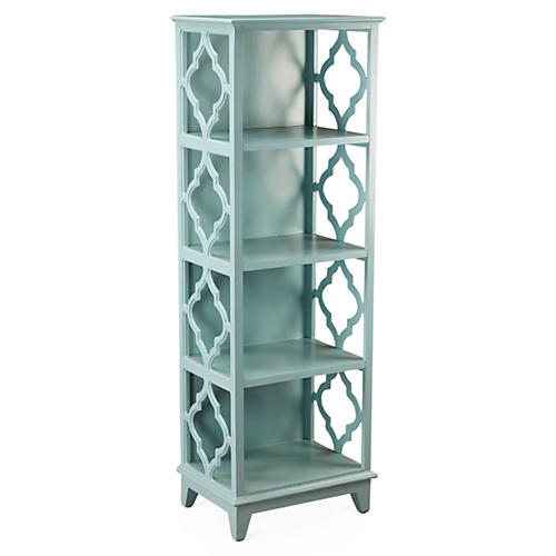 "Barton 57"" Trellis Bookcase, Light Blue"
