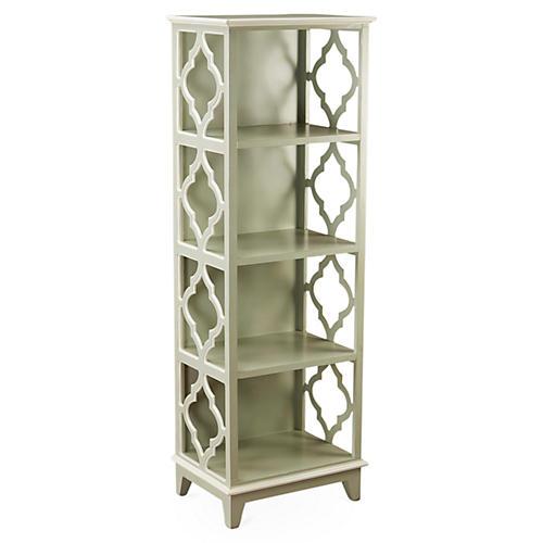 """Barton 57"""" Trellis Bookcase, Gray"""