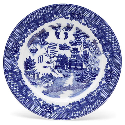 """11"""" Willow Plate, Blue/White"""