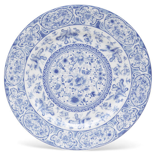 "11"" Floral Plate, Blue/White"