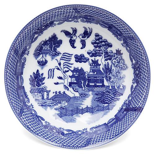 """11"""" Willow Bowl, Blue/White"""