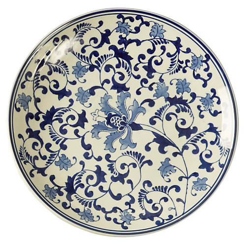 "15"" Floral Decorative Plate, Blue/White"