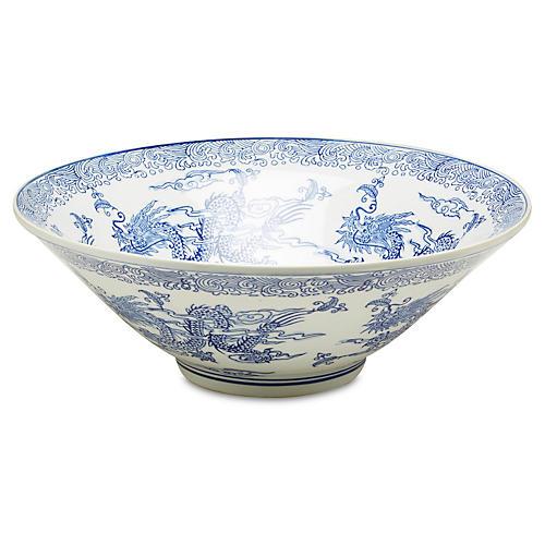 """16"""" Dragon Bowl, Blue/White"""
