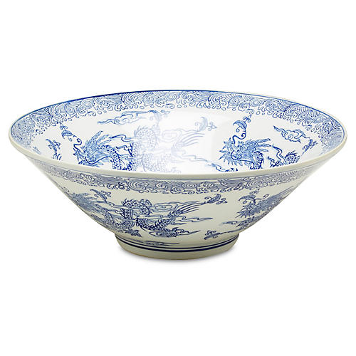 "16"" Dragon Bowl, Blue/White"