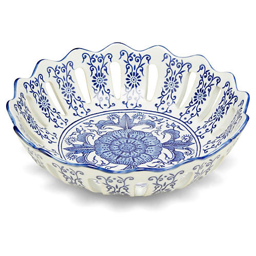 "14"" Celine Bowl, Blue/White"