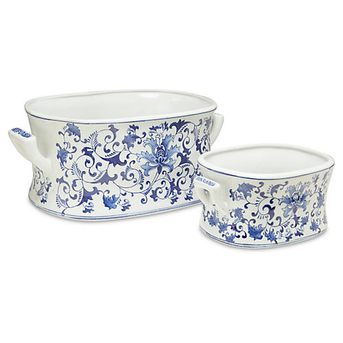 Asst. of 2 Floral Foot Baths, Blue/White