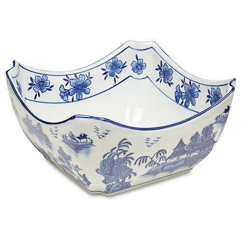 "8"" Square Chinoiserie Bowl, Blue/White"