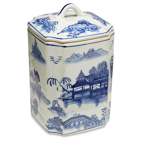 """8"""" Darcell Square Canister Blue/White"""