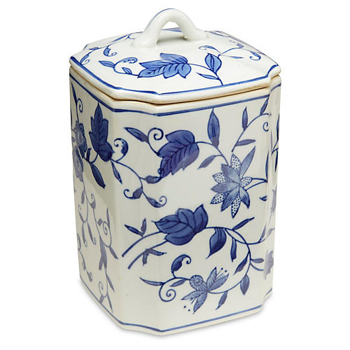 """8"""" Paget Square Canister Blue/White"""