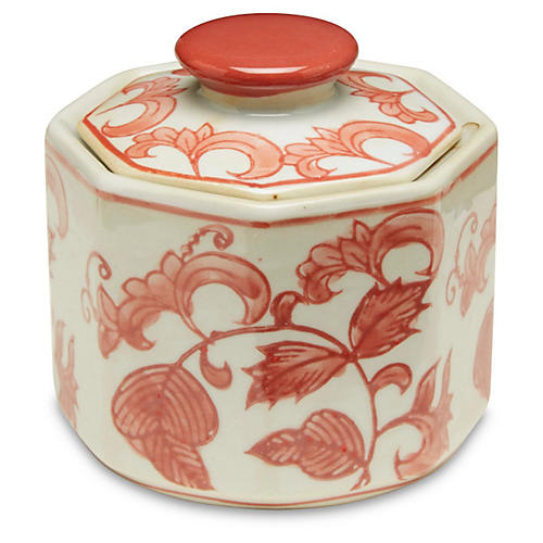 S/3 Small Olympe Jars, Red/White