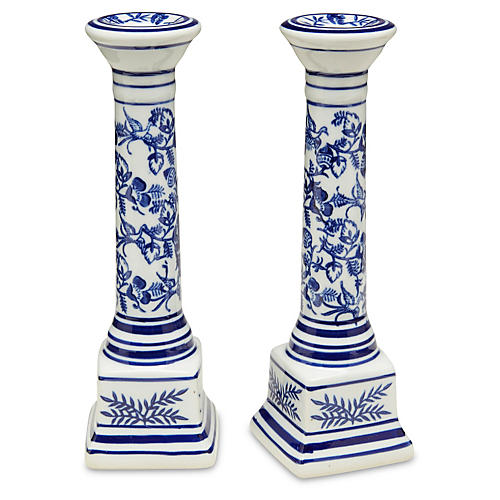 S/2 Floral Candlestick, Blue/White
