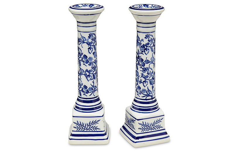 S/2 Floral Candlesticks, Blue/White