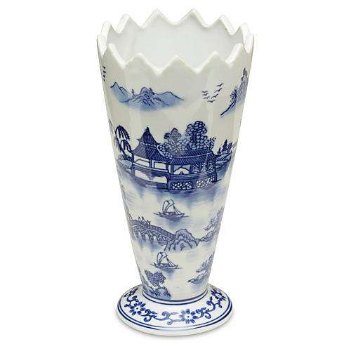 "10"" Darcell Vase, Blue/White"