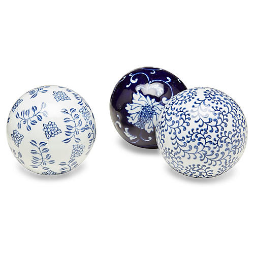 Asst. of 3 Floral Orbs, Blue/White