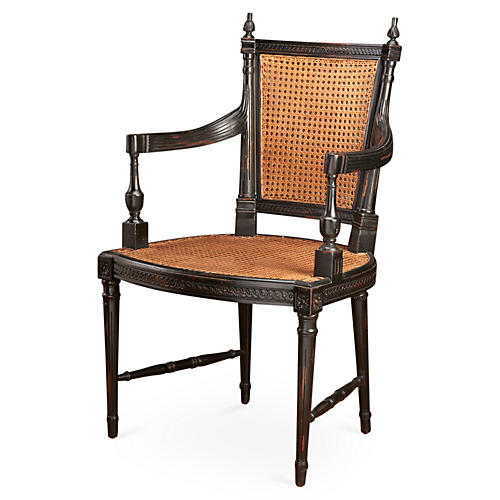 Hampton Wicker Armchair, Black/Natural