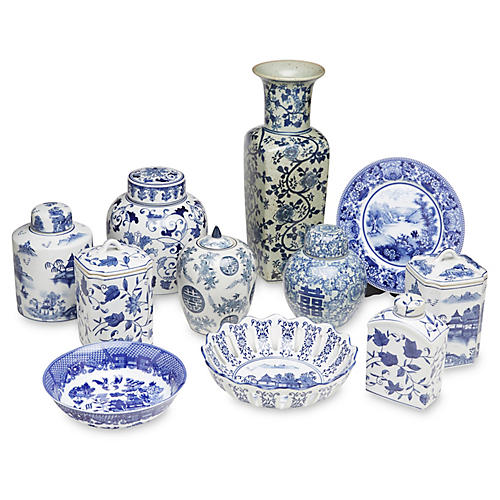Asst. of 11 Porcelain I Accents, Blue/White