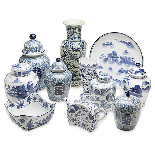 Asst. of 11 Porcelain II Accents, Blue/White