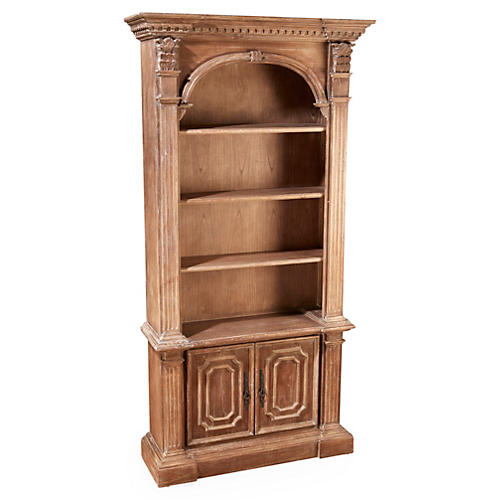 Geneva Arch-Top Bookcase, Natural