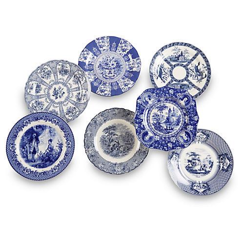 Set of 7 Porcelain Plates, Blue/White