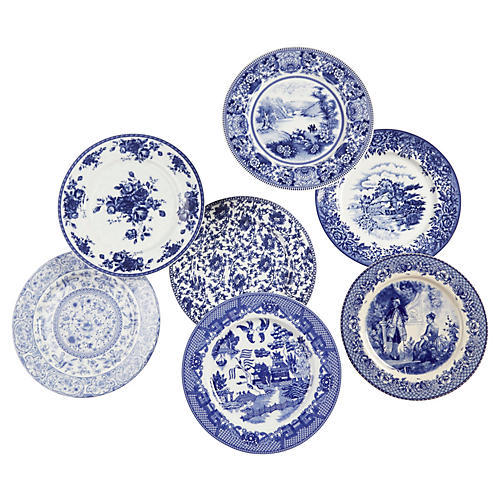 Set of 7 Porcelain Plates, Blue/White