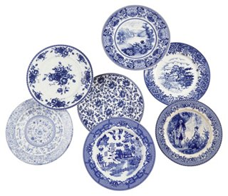 Set of 7 Porcelain Plates Blue/White - Decorative Kitchenware - Decorative Accents - Home Accents - Decor u0026 Entertaining | One Kings Lane  sc 1 st  One Kings Lane & Set of 7 Porcelain Plates Blue/White - Decorative Kitchenware ...
