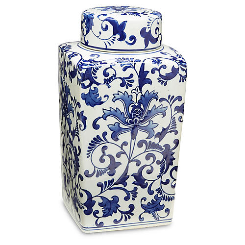 Blue Floral Square Jar w/Lid
