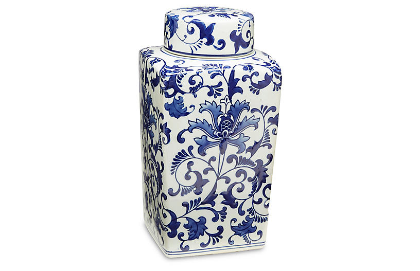 Blue Floral Square Jar w/Lid