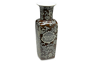 "17"" Brown & Gray Floral Square Vase*"