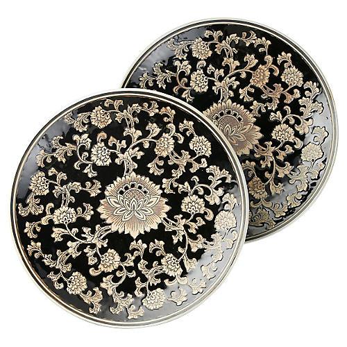 "S/2 Black & Cream Floral Plates, 14"""