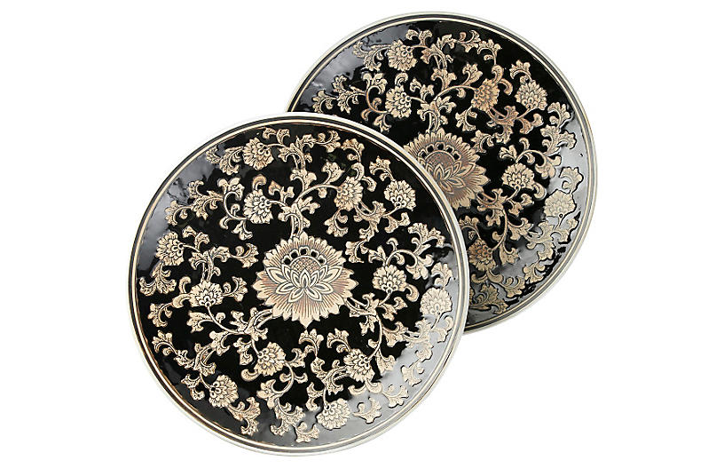 S/2 Black & Cream Floral Plates, 14