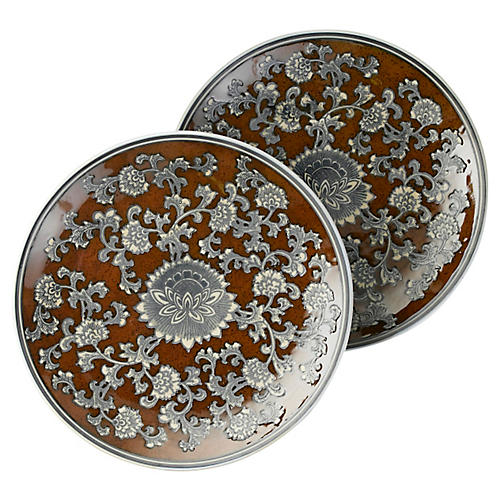 S/2 Brown & Gray Floral Plates, 14""