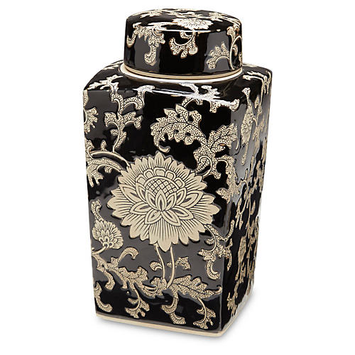 Black & Cream Square Jar w/Lid