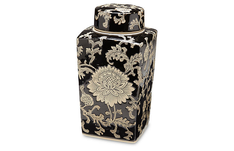 Black & Cream Square Jar w/Lid