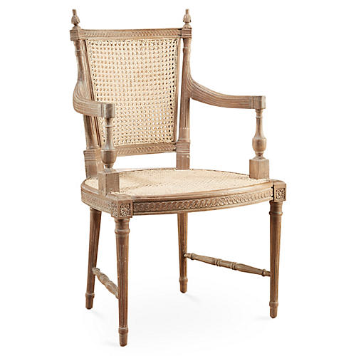 Hampton Wicker Armchair, Pickled Natural