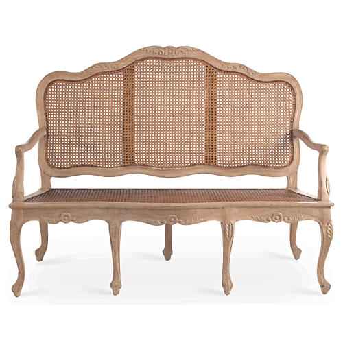 Cane Three-Seat Sofa, Natural