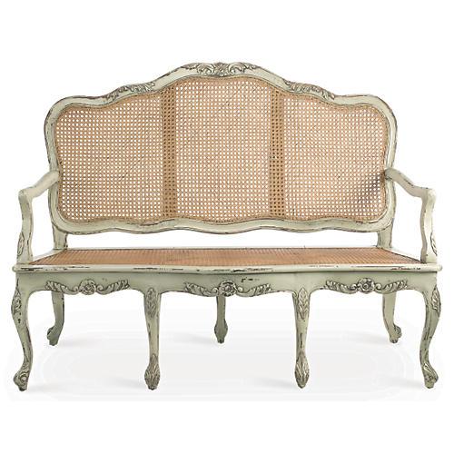 Cane Three-Seat Sofa, Ivory