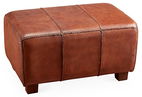 Amanda Leather Bench, Brown