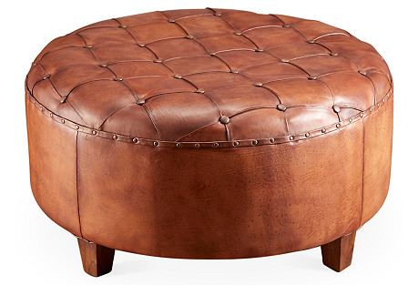 Olivia Leather Ottoman, Brown