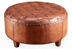 Olivia Leather Ottoman, Brown*