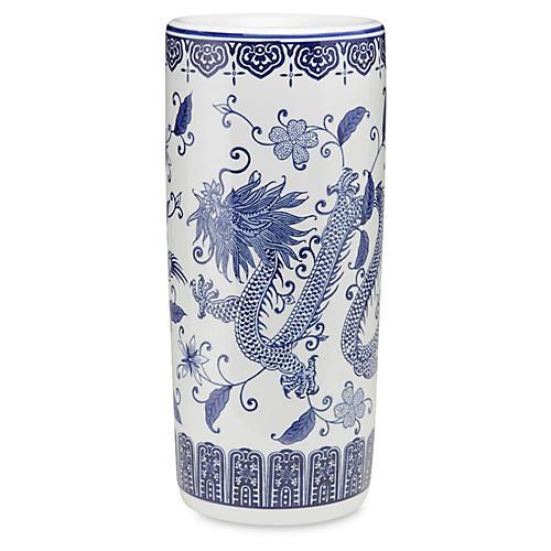 "18"" Dragon Umbrella Stand, Blue/White"