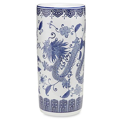 "18"" Dragon Umbrella Stand, Blue/White"