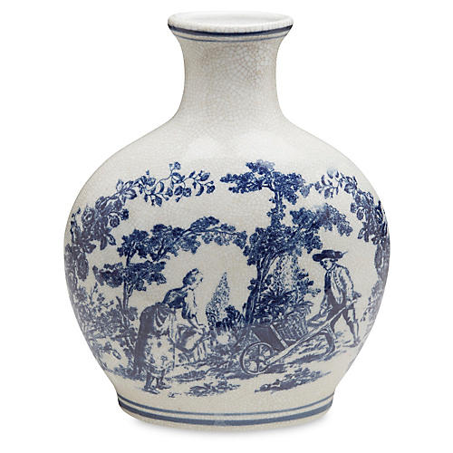 "20"" Ceramic Crackle Vase, Blue/White"