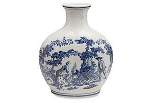 "20"" Ceramic Crackle Vase, Blue/White*"