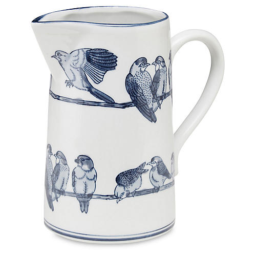 "10"" Ceramic Bird Pitcher, Blue/White"