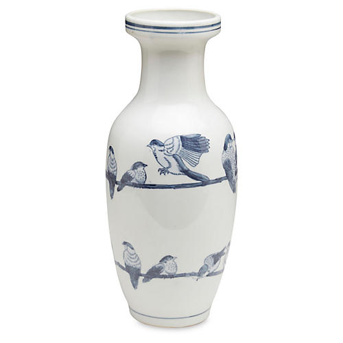 "14"" Ceramic Bird Vase, Blue/White"